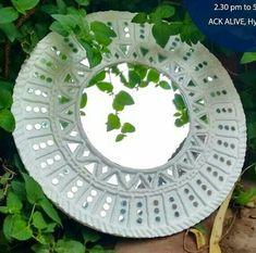 Mirror Crafts, Mirror Art, Clay Wall Art, Mural Wall Art, Diy Crafts For Kids Easy, Diy Arts And Crafts, Diwali Decoration Items, Indian Folk Art, Madhubani Painting