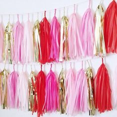 Valentine Tassel Garland Red &Pink by StudioMucci on Etsy Red Party Decorations, Diy Halloween Decorations, Valentine Decorations, Party Themes, Tassel Garland, Tassels, Sorority Recruitment Decorations, Tissue Paper Tassel, Pink Parties