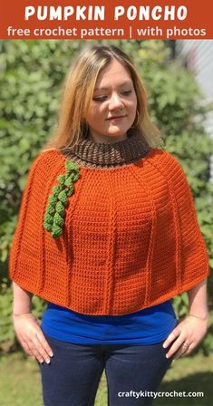 It's Pumpkin Everything season, and in case you don't have enough Pumpkin Spice in your life, here is a crochet pattern that's sure to hit the spot when it comes to your pumpkin cravings! The Pumpkin Patch Poncho is easy to make, works up quickly, and is the perfect accessory for those crisp fall days that are ahead of us. Great for both kids and adults, this cute capelet-style poncho is just right for visits to the pumpkin patch and apple picking! Hurry and make yours now with the FREE… Crochet Poncho Patterns, Crochet Yarn, Free Crochet, Crochet Top, Chain Stitch, Slip Stitch, Front Post Double Crochet, Halloween Crochet, Crochet Designs
