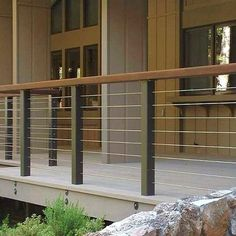 stainless wire fence modern - Google Search