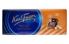 Karl Fazer 200g Kermatoffeepaloja ja maitosuklaata suklaalevy Chocolate Toffee, Chocolates, Finland, Flask, Milk, Candy, Hot, How To Make, Schokolade