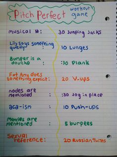 Pitch Perfect Workout Game @Alina Pesonen lets do it!! :P