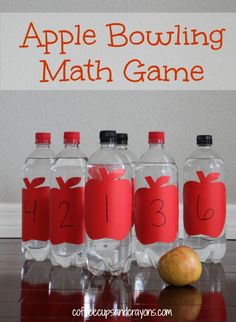 Apple Bowling Math Counting Game could be adapted to Feelings Bowling by adding feeling faces to the bottles. Children will work on counting while bowling with apples. Preschool Apple Theme, Fall Preschool, Preschool Math, Kindergarten Math, Fun Math, Teaching Math, Preschool Apples, Lego Math, Preschool Curriculum
