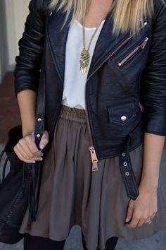 Leather Jacket, Skirt and Tights!  #SkimmiesSecrets