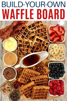 Picnic Ideas Discover Build-Your-Own Waffle Board A Build-Your-Own Waffle Board with all the toppings to choose from is a fabulous and fun way to serve breakfast brunch or brinner! Breakfast Platter, Breakfast Waffles, Pancakes And Waffles, Pizza Muffins, Breakfast Buffet, Think Food, Love Food, Party Food Platters, Chocolate Chip Banana Bread