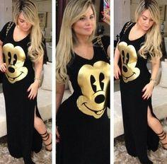 Grandes Mulheres Bazar - GMB - Bazar e Brechó On Line!: Vestidos longos! (estampa Mickey, Snoopy e Navy)Compre o seu agora! Sob encomenda...