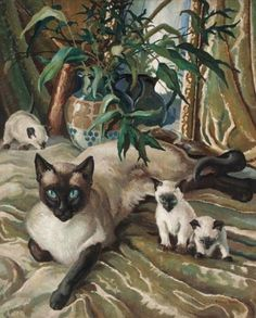 Francis Wynne Thomas. Siamese Cat and Kittens. Mid-20th century.