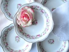 Antique Scherzer Mignon Pink and Green Rose Soup by thechinagirl