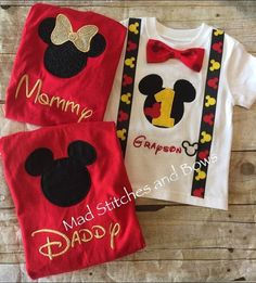 Custom embroidered Mickey Mouse birthday shirt with mommy and daddy shirts - Mickey e Minnie - Aniversario Festa Mickey Baby, Mickey E Minie, Fiesta Mickey Mouse, Mickey Mouse Parties, Mickey Party, Disney Parties, Mickey Mouse Birthday Shirt, Mickey 1st Birthdays, Mickey Mouse First Birthday