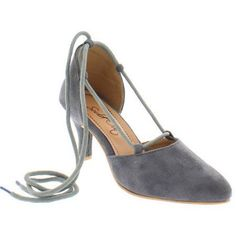 Shoes of Soul Women's Cross Laceup Pointed Toe Heel Sandals, Size: 5, Gray