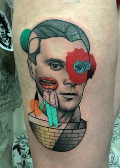 My David Byrne from Talking Heads tribute by Mariusz Trubisz at The Circle, London : tattoos