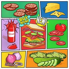 Sandwich Advertising Comic Page by macrovector Comic book page with advertising of sandwich ingredients ketchup in bottle on divided colorful background vector illustration. Edi