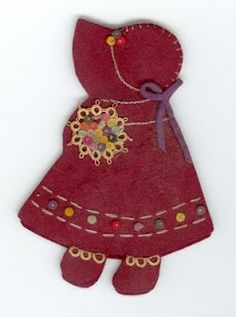 Sunbonnet Sue embroidered needle case with pattern - I've made these as office gifts with mending threads, needles and safety pins.