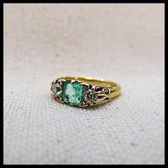 Victorian Emerald and Diamond Three Stone Ring by arrowandanchor, $2300.00