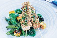 Salmon & swordfish kebabs with haloumi asparagus salad main image