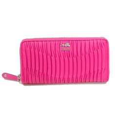 90b87629d3a5 Coach Madison Gathered Leather Zip Around Wallet  Clutch (Hot Pink)  46481 -