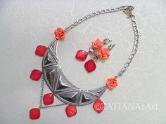 #TATIANAsArt #Halskette #Collier #Necklace  #Ohrringe                                                                           Mein Schmuck aus korallfarbige Perlmutt und Rosa Blüten.                                                               TATIANAsArt bei Dawanda