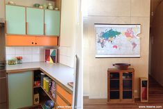 the kitchen is finished in Resene Clementine Orange and Resene Summer Green