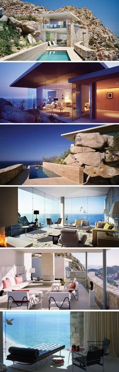 Situated on a cliff overlooking the Pacific Ocean, Casa Finisterra in Cabo San Lucas, Mexico is a modern house designed to blend in with its rocky surroundings. Steven Harris Architect