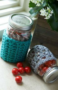Crochet Jar Cozies Free Pattern from Red Heart Yarns