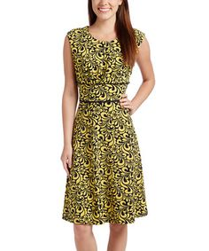 Look what I found on #zulily! Navy & Yellow Flourish A-Line Dress by ILE New York #zulilyfinds