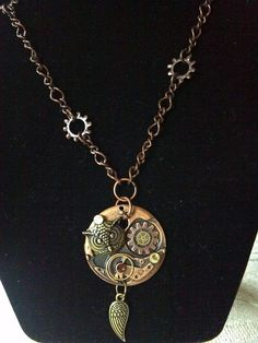 Steampunk Watch and Owl Necklace by KreationsByKimH on Etsy, $15.00