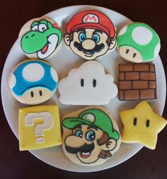 Items similar to Super Mario Brothers cookies on Etsy Super Mario Bros, Bolo Super Mario, Mario Bros Cake, Super Mario Brothers, Mario Birthday Cake, Super Mario Birthday, Super Mario Party, Birthday Cookies, 5th Birthday