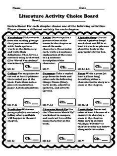 LITERATURE ACTIVITY CHOICE BOARD: 3RD -5TH GRADES - TeachersPayTeachers.com
