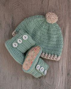 100 cotone Pima uncinetto Baby Set stivali e di atelierbagatela