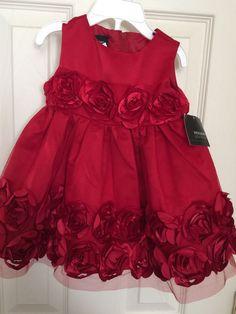 Infant Girls Red Dress Size 6/9 Months Dressy Rosette Pageant Valentine #HolidayEdition #SkaterDress #ValentineWeddingPageantHoliday