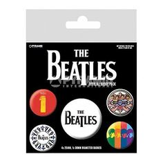 The Beatles Badge Pack (Black) Set of 5 Officially Licensed