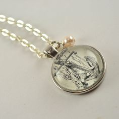 Vintage Dictionary  Necklace Pendant ANCHOR by www.kraftykash.net  $21.00 #handmade #jewelry