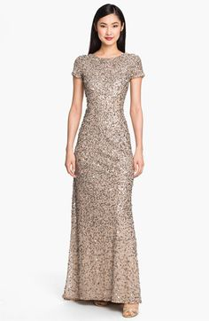 Adrianna Papell Short Sleeve Sequin Mesh Gown | Nordstrom  @cheryl ng  What about this?