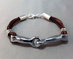 Heavy Silver Snaffle Bit Bracelet on Red Brown by GryphonDesigns