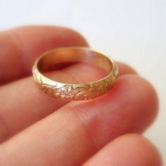 Gold wedding band recycled 14k floral and leaves by BrookeJewelry