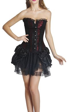 Ya Lida Women's Vampiress Corset Overbust Steel Boned Bustier Waist Cincher Skirt *** Unbelievable item right here! : Plus size lingerie Gothic Dress, Gothic Lolita, Punk Outfits, Cool Outfits, Waist Cincher Corset, Plus Size Lingerie, Gothic Fashion, Floral Lace, Fashion Brands
