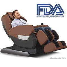 Relaxonchair MK-IV Zero Gravity Shiatsu Massage Chair with Built in Heating and Air Massage System (Brown) >>> Check out the image by visiting the link.