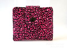 Handmade small and slim wallet - Animal print - Pink and black - ID clear pocket - ready to ship - half size women wallet - gift under 50 by PatrisCorner on Etsy
