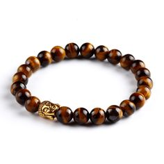 Natural Stone Beaded Bracelet Buddha Head Design: Unique, trendynatural stones with Buddha head design, very cool bracelet for men and womento wear. Perfect for your personal jewelry collection. Great accessory and a unique gift.