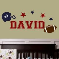 Personalized football themed wall decal set. Includes name, helmet, stars and football. Customize with your choice of colors and number for helmet. www.isignsdecalstudio.com