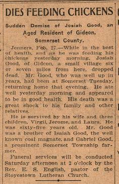 Vintage Johnstown: Dies Feed Chickens - 1908