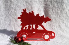 Christmas Tree Car, Holiday Decor, Fireplace Mantel Decor, Christmas Tree, Christmas Decorations, Red Car (28)