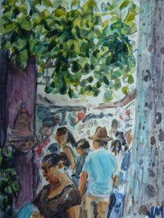 La Placita Olvera LA ,ACEO Card Original miniature artwork Watercolor Painting #Realism