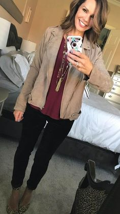 #fall #outfits women's brown jacket