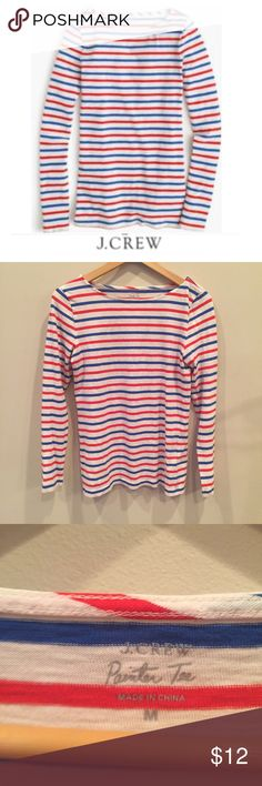 J. Crew Red White Blue Long Sleeve Painters Tee J. Crew Red White Blue Long Sleeve Painters Tee. 17 inch bust. 24 inches long. Gently worn. Great condition. Feel free to make an offer or bundle and save. J. Crew Tops Tees - Long Sleeve