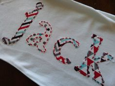 Hand Embroidered Custom Personalized Infant Baby Name by EandLuLu, $28.00