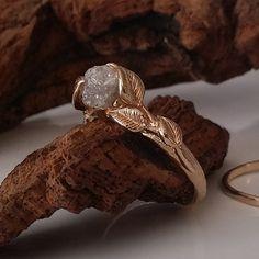 Bridal Set Leaves Engagement Set 14K Gold by DawnVertreesJewelry