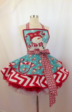Let's Be Friends Christmas Apron In Snowman print In Aqua and Red, Ready To Ship
