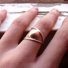 Line and Point Ring II   Sterling silver and copper  by aforfebre