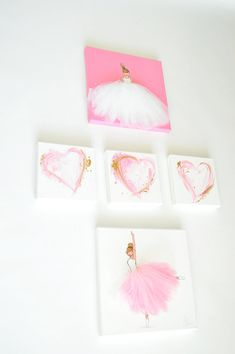 Original acrylic paintings, hand-painted on stretched canvas. Unique artwork, composed of acrylic paint and tulle, ideal for a little girls room,
